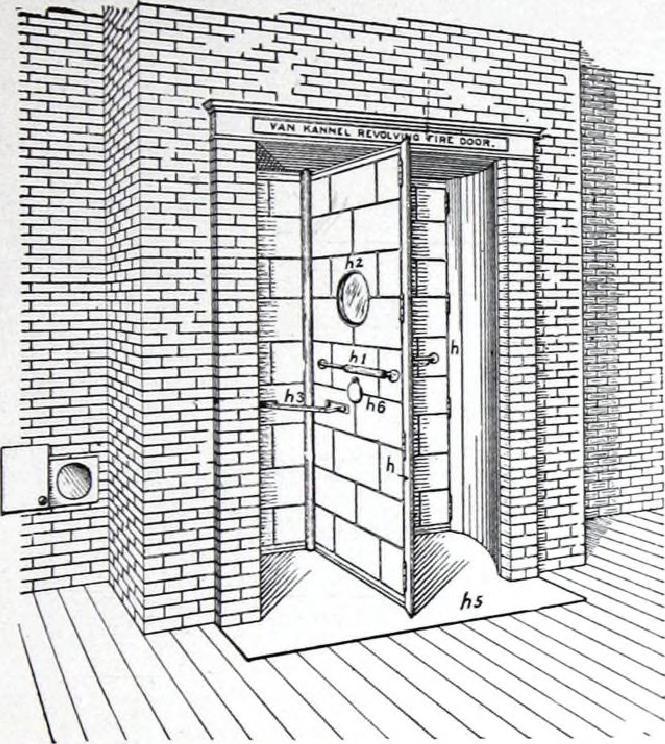 Gravure représentant la porte d'une chambre forte.
