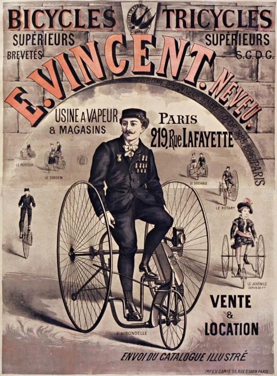 Affiche publicitaire d'un marchand de bicyclette du XIXème siècle.