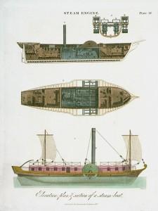 Gravure colorée représentant un bateau à vapeur.