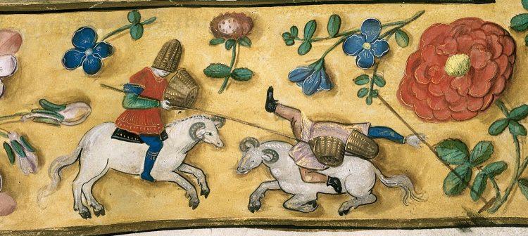 Deux personnages déguisés en chevaliers s'affrontent en chevauchant deux boucs dans une parodie de tournoi médiéval.