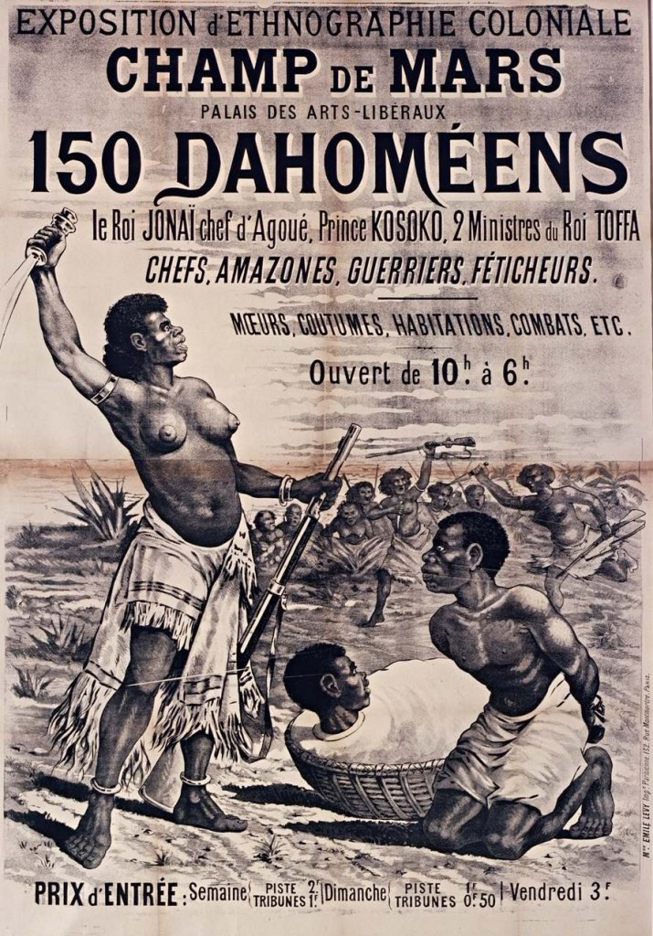 Affiche annonçant une exposition d'ethnographie coloniale.