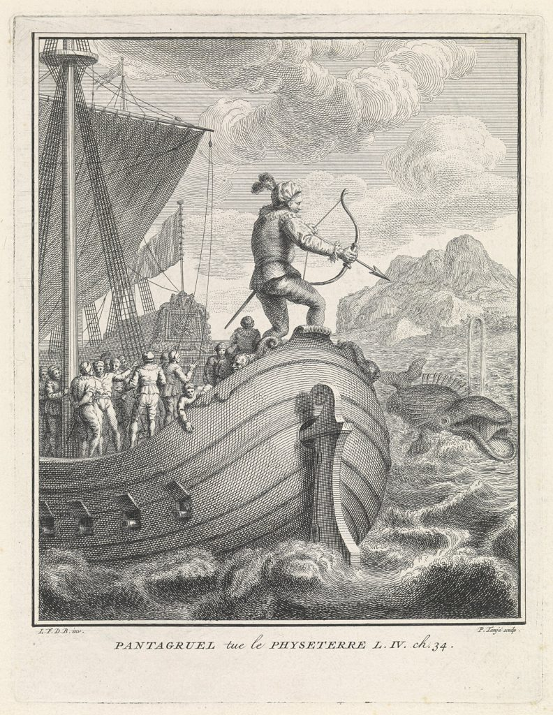Gravure représentant une scène de chasse à la baleine.
